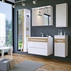 Białe meble łazienkowe z dużym lustrem Galaxy White 80 cm