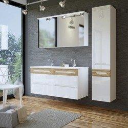 Galaxy biały meble łazienkowe z podwójną umywalką 120 cm