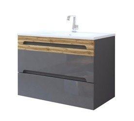 Nowoczesna szafka z umywalką 80 cm szary połysk Galaxy Grafit