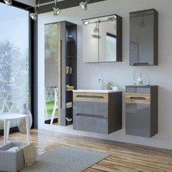 Szare meble łazienkowe z dużym lustrem Galaxy Grafit 60 cm