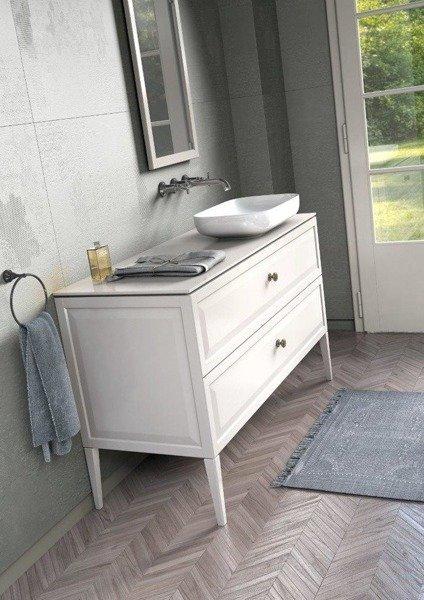 Oristo Szafka pod umywalkę MONTEBIANCO 60 cm biała z blatem i złotymi uchwytami
