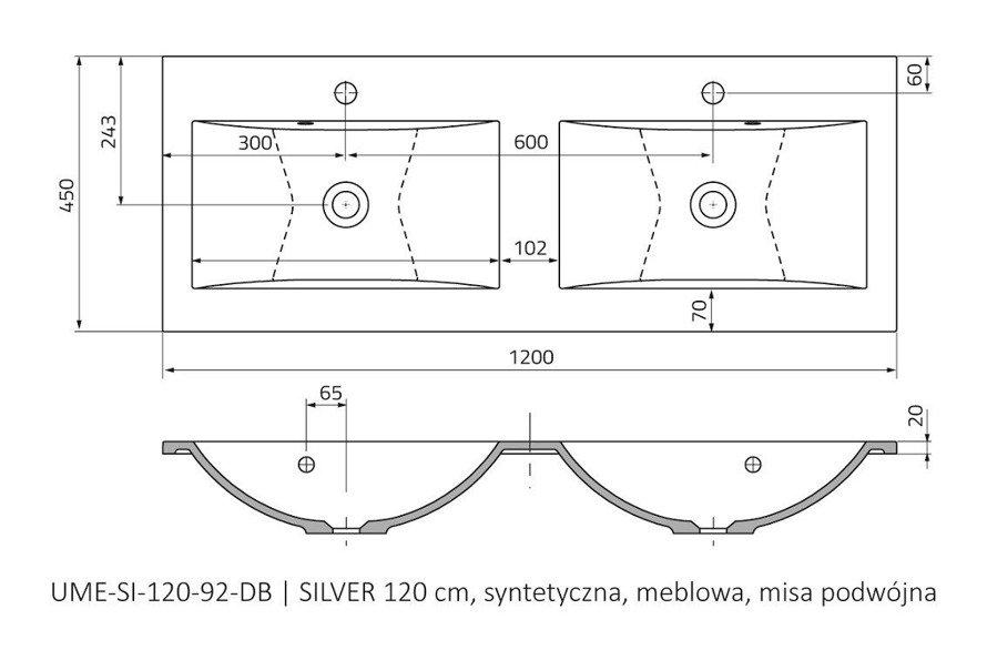 Oristo Szafka z umywalką 120 cm Silver szary mat podwójna