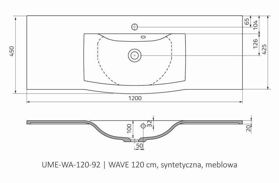 Oristo Umywalka meblowa 120 cm WAVE