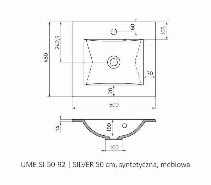 Oristo Umywalka meblowa 50 cm SILVER