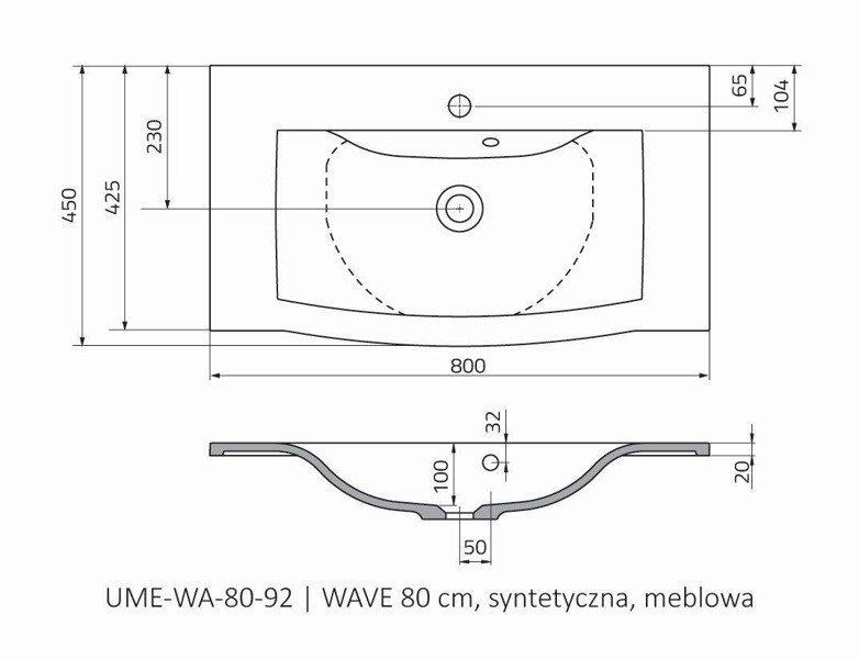 Oristo Umywalka meblowa 80 cm WAVE