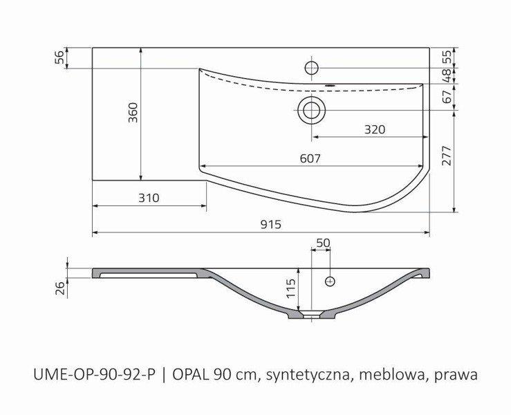 Oristo Umywalka meblowa 90 cm OPAL prawa
