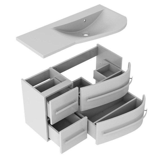 Oristo Zestaw mebli łazienkowych 90 cm OPAL szary prawy
