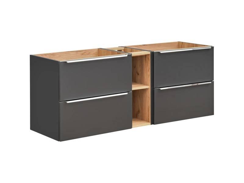 Podwójna szafka pod umywalkę 140 cm Capri Cosmos 820 + blat + słupek