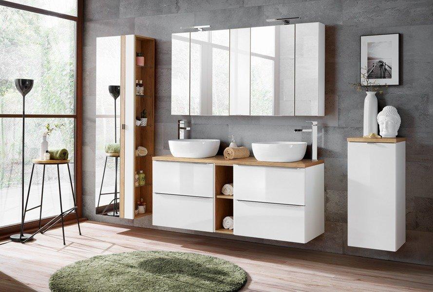 Szafka 60 cm z umywalką, blatem i szafką Capri biały 820 z blatem dębowym