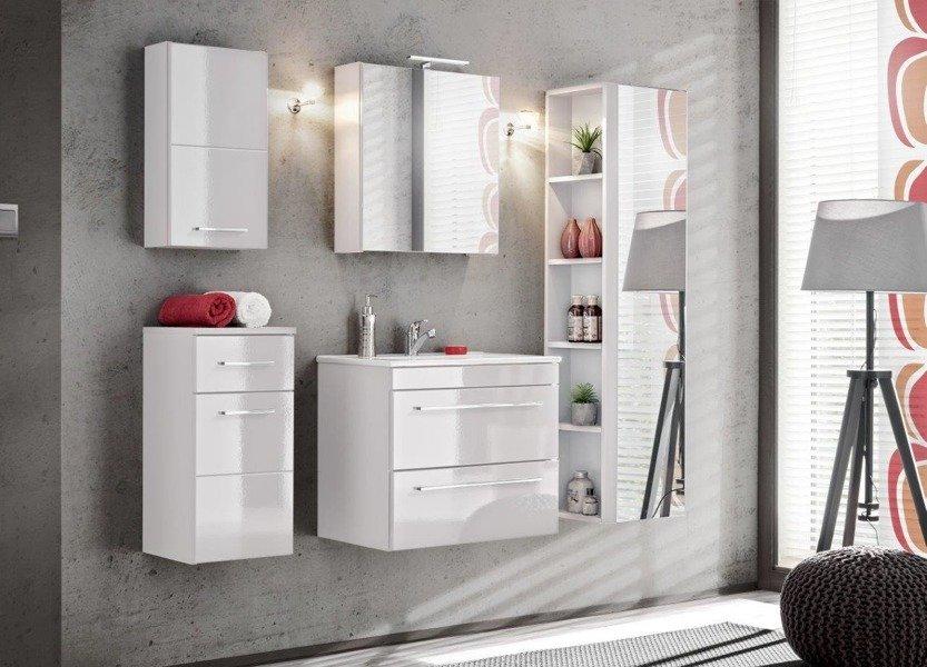Szafka wisząca z lustrem łazienkowa Twist White