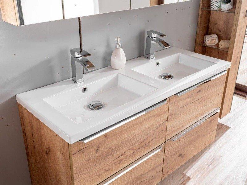 Szafka z umywalką 60 cm Capri dąb 820 z białym blatem