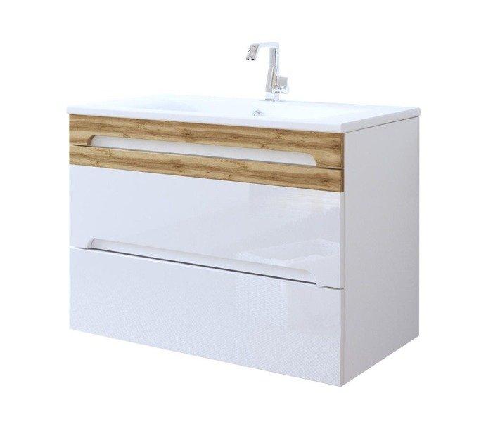 Zestaw mebli łazienkowych 80 cm biały połysk Galaxy White